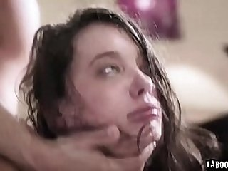 Teen Gia Paige is close to crying while she gets double penetrated!