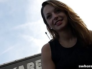 Amateur Czech street hooker is a master at eating cum POV