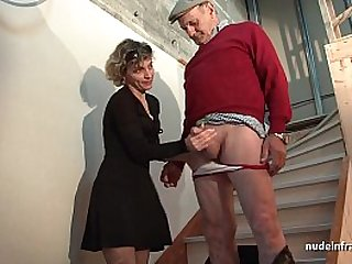 Horny french mom hard style anal pounded and facial jizzed in 3some with Papy Voyeur