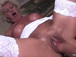 Granny screams while fucked very hard