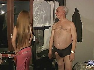 old grandpa sex blessed by Russian hottie blonde