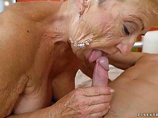 Old granny fucks the young mechanic Lusty Grandmas