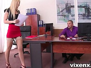 Sexy blonde Vanda Lust in stockings office footjob and sex