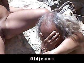 Kinky brunette love suck flaccid old dick