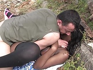 Bigtits black cock in slut with big ass outdoor fucking