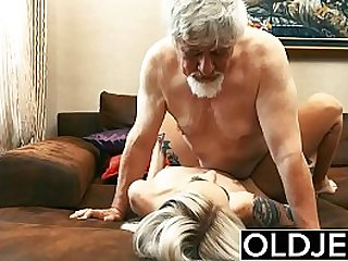 Old and Young Teen Blonde slut gets Fucked by Old man tight pussy licking