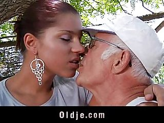 Big dick oldman fucks his much younger sexy girlfriend
