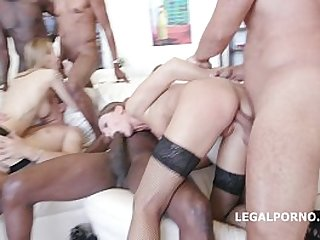 Belle Clair and Tina Kay office sluts interracial swallow from ass