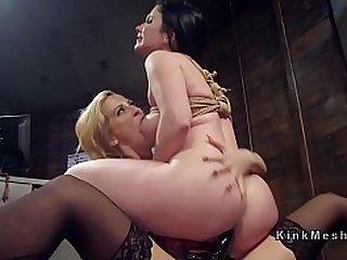 Lezdom strap on dildo anal fucking and spanking
