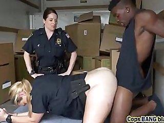 Horny police sluts arrested black dude with big hard cock