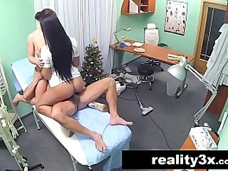 Sexy nurse joins the doctor and the cleaner for threesome