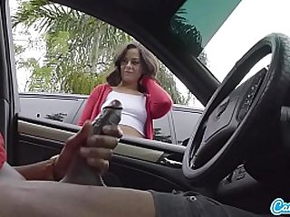 Dick Flash! Cute Teen Gives Me Hand Job in Public Parking Lot after She Sees My Big Black huge Cock