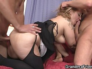 She enjoys two cocks in mouth and pussy