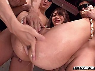 Small Asian slut bdsm treated by the fellas