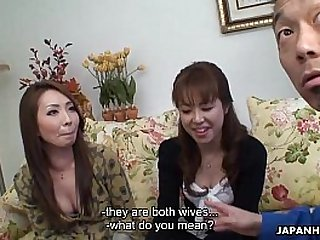 Two Asian floozies getting creamed in a threesome
