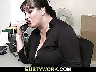 He pounds fat bitch from behind at work