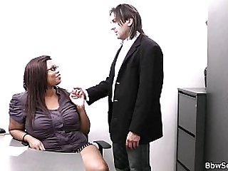 Married boss with fat ebony secretary