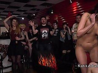 Hot slaves humiliated in public club