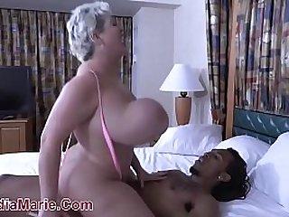 Huge Titty White Cow Takes Black Cock