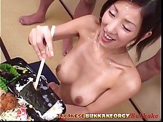 Cum And Sushi for 18 year old Japanese Teen Japanese Bukkake Orgy