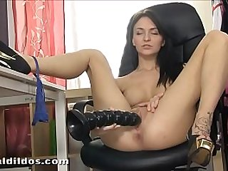 Petite Belle Claire pussy with brutal dildo