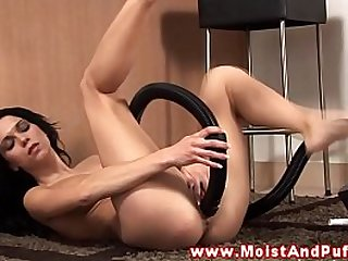 Masturbating slut fucks her vacuum