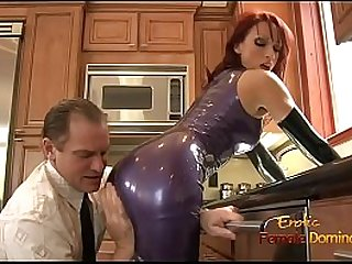 Dominatrix in a latex outfit fucked hard in the kitchen