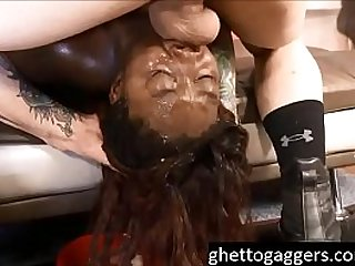 Interracial throat fucking and painal for black ghetto slut